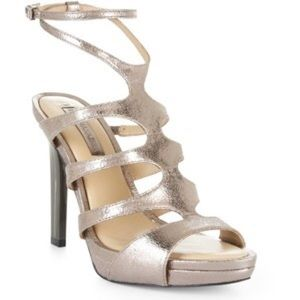 BCBGMaxAzria Ming1 Strappy Gold Heels (Brand New)
